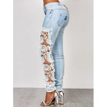 Attractive White Hollow Out Lace Spliced Bodycon Pencil Jeans For Women - AZURE S