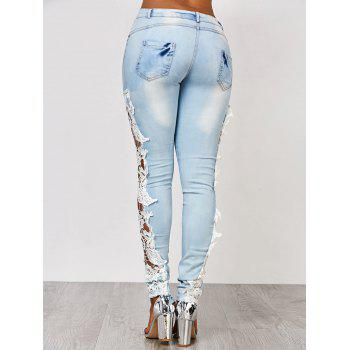 Attractive White Hollow Out Lace Spliced Bodycon Pencil Jeans For Women - M M