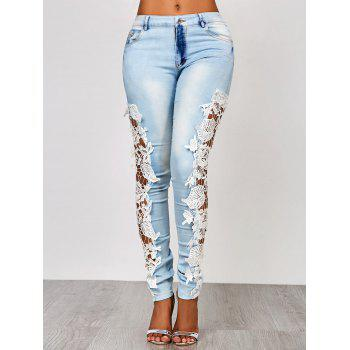 Attractive White Hollow Out Lace Spliced ​​Bodycon Pencil Jeans pour les femmes