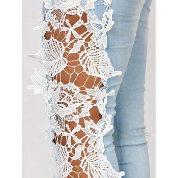 Attractive White Hollow Out Lace Spliced Bodycon Pencil Jeans For Women - AZURE AZURE