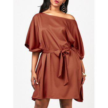 Loose Fit Skew Neck Belt Dress