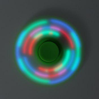 Colorful Flashing LED Lights Fiddle Toy Bat Fidget Spinner - GREEN