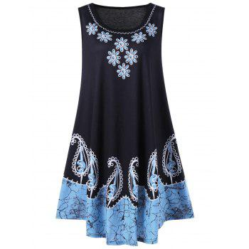 Plus Size Floral and Paisley Sleeveless Dress - BLACK AND BLUE BLACK/BLUE