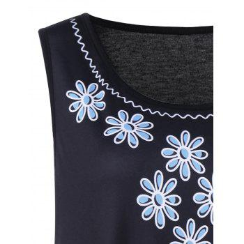 Plus Size Floral and Paisley Sleeveless Dress - BLACK/BLUE BLACK/BLUE