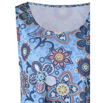 Plus Size Floral Longline Tank Top - BLUE 4XL