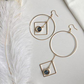 Rhinestone Asymmetric Geometric Circle Chain Earrings
