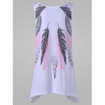 Plus Size Feather Tank Top - WHITE WHITE