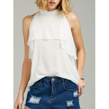 High Neck Ruffle Sleeveless Chiffon Top