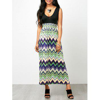 Chevron Print Sleeveless Empire Waist Maxi Dress
