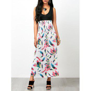Feather Print Sleeveless Empire Waist Maxi Dress