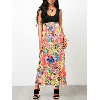 Paisley Floral Sleeveless Empire Waist Maxi Dress