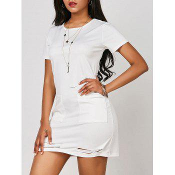 Distressed Pocketed T Shirt Dress