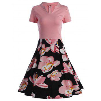 A Line Split Neck Floral Print Dress