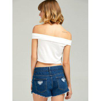 Off The Shoulder Slim Fit Crop Top - WHITE M