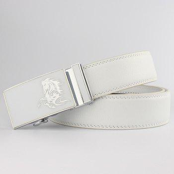 Metal Polished Buckle Horse Head Pattern Belt - WHITE WHITE
