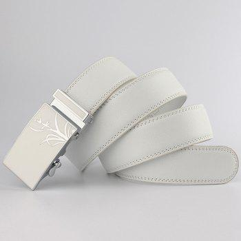 Auto Buckle Polished Orchid Pattern Belt - WHITE 120CM