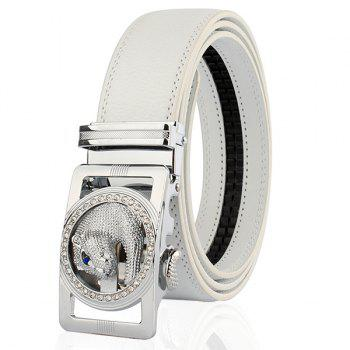 Automatic Buckle Leopard Head Carving Belt - SILVER AND WHITE 110CM