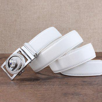 Automatic Buckle Leopard Head Carving Belt - SILVER/WHITE SILVER/WHITE