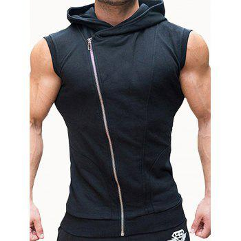 Asymmetric Zip Up Hooded Vest