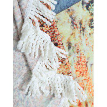 Round Fringe Landscape Print Beach Throw - COLORMIX COLORMIX