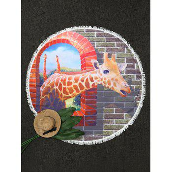 Round Fringe Giraffe Print Beach Throw - COLORMIX ONE SIZE