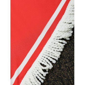 Fringe Heart Shape Letter Print Beach Throw - RED ONE SIZE