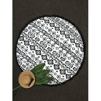 Round Geometric Print Fringe Beach Throw - BLACK ONE SIZE