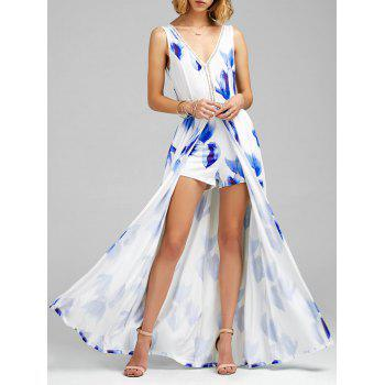 Floral Print Backless Overlay Maxi Romper