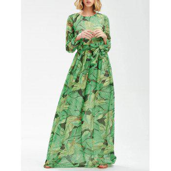 Tropical Print Long Sleeve Floor Length Dress