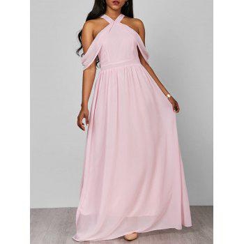 Cold Shoulder Flounce Chiffon Maxi Dress