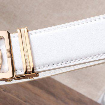 Automatic Buckle Leopard Head Carving Belt - WHITE/GOLDEN WHITE/GOLDEN