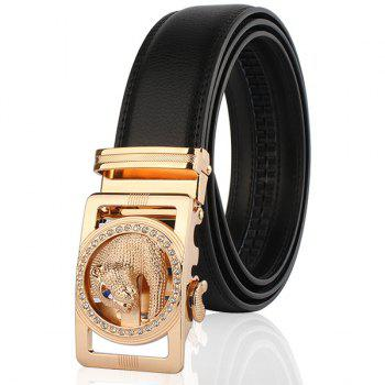 Automatic Buckle Leopard Head Carving Belt - BLACK AND GOLDEN BLACK/GOLDEN