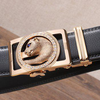 Automatic Buckle Leopard Head Carving Belt - BLACK/GOLDEN BLACK/GOLDEN