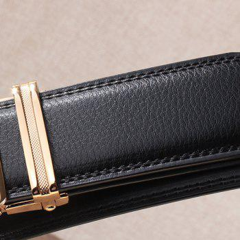 Automatic Buckle Leopard Head Carving Belt - BLACK/GOLDEN 130CM