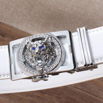 Rhinestone Alloy Auto Buckle Wolf Carving Belt - SILVER/WHITE 110CM