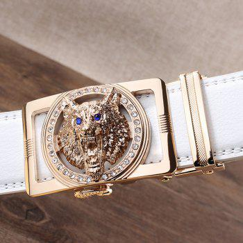 Rhinestone Alloy Auto Buckle Wolf Carving Belt - Blanc et Or 110CM