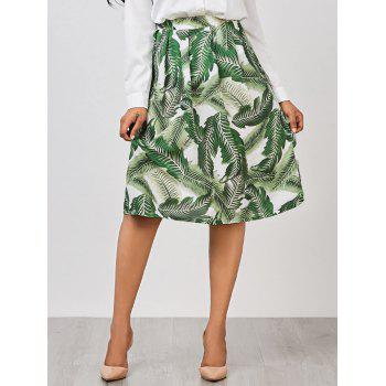Palm Leaf Print A Line Knee Length Skirt