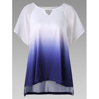 Keyhole Neck High Low Hem Ombre T-Shirt