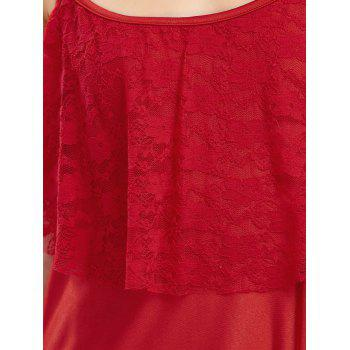 Backless Lace Trim Spaghetti Strap Floor Length Dress - RED S