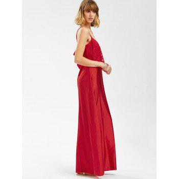 Backless Lace Trim Spaghetti Strap Floor Length Dress - RED L