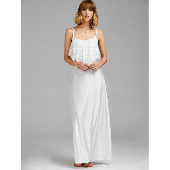 Backless Lace Trim Spaghetti Strap Floor Length Dress - WHITE S