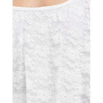 Backless Lace Trim Spaghetti Strap Floor Length Dress - WHITE M