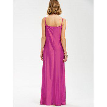Backless Lace Trim Spaghetti Strap Floor Length Dress - ROSE MADDER M