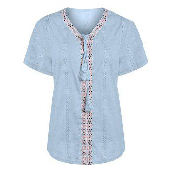 Plus Size Translucent Linen Lace Up Peasant Top