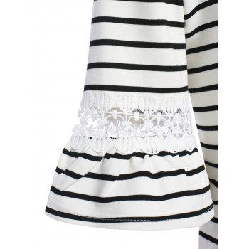 Plus Size Bell Sleeve Stripe T-Shirt with Lace Trim - WHITE WHITE