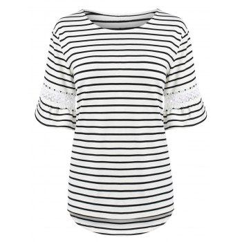 Plus Size Bell Sleeve Stripe T-Shirt with Lace Trim