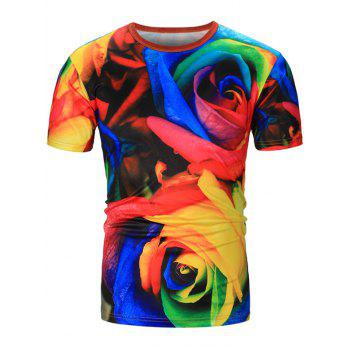 Colorful Rose 3D Print T-Shirt