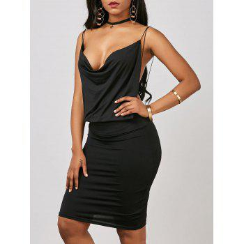 Cowl Neck Backless Mini Sheath Dress