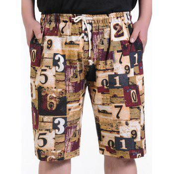 Graphic Printed Drawstring Board Shorts