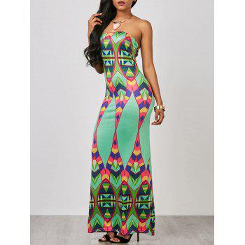 Geometric Strapless Prom Maxi Dress